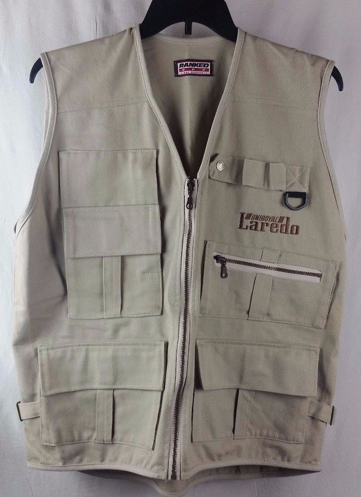 Ranked One Uniroyal Laredo Khaki Fishing Photographer Vest Several Pockets #RankedOneUniroyalLaredo