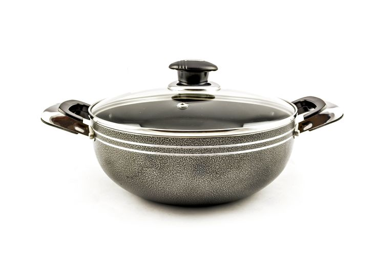 Buy Grey Non-Stick Wok With Glass Lid – 26 cm - Non Stick Frying Pans & Woks and more Homeware, Kitchenware and Cookware products at Popat Stores. #FryPan #NonstickFryPan #Cooking #Cookware #Homeware #Kitchenware