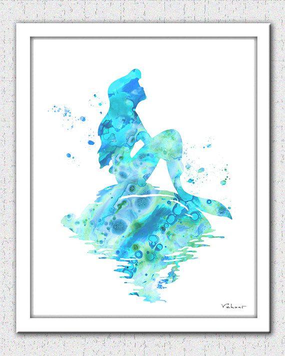 Mermaid Print Mermaid Watercolor Print Ariel Print Aqua Mermaid Disney Ariel The Little Mermaid Nursery Decor Little Mermaid