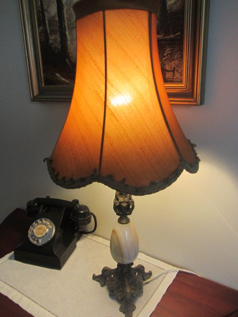 Vintage Retro Marble Lamp with Original Shade and Claw Feet.  This is up for auction in our Ebay Shop starting at just 99c