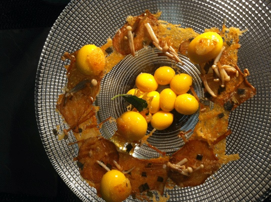 Liquid butternut gnocchi, mushroom consomme, sage - Amazeballs!!!
