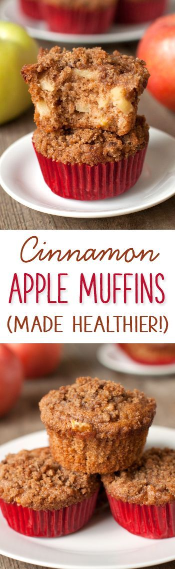 Moist and delicious cinnamon apple muffins {100% whole grain}