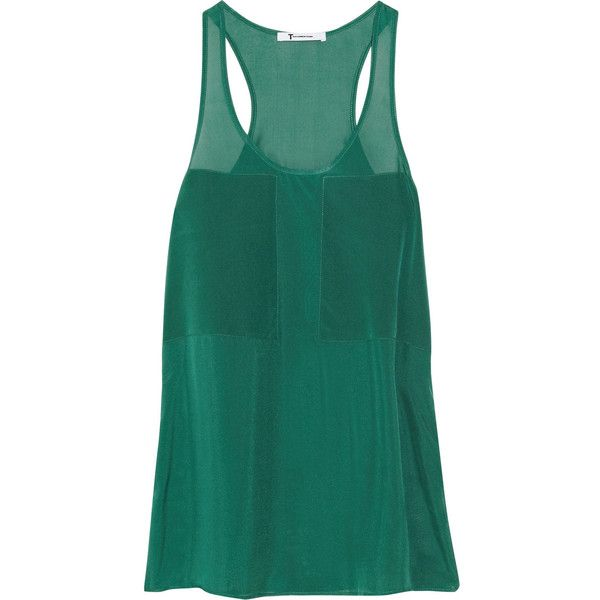 T by Alexander Wang Paneled silk-chiffon tank ($89) ❤ liked on Polyvore featuring tops, tank tops, shirts, tanks, forest green, loose tank top, loose fitting shirts, loose shirts, loose fitting tank tops and loose tank