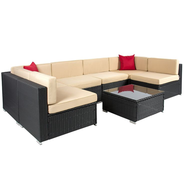 Best ChoiceProducts 7 Piece Outdoor Patio Garden Furniture Wicker Rattan Sofa Set Sectional, Black. Beautiful 7 piece wicker sofa furniture set includes 1 table, 6 sofa chairs, 16 cushions, and 2 pillow. Wicker set is black with beige cushions which adds perfect contrast to your backyard patio. Wicker is smooth and soft as well as sun and weather resistant that adds a beautiful touch to the wicker set. Relax on your patio in this comfortable and easy to clean sofa set. Product weight:...