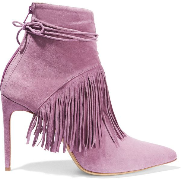 Bionda Castana Sahar fringed suede boots (£238) ❤ liked on Polyvore featuring shoes, boots, lavender, narrow boots, pointed toe boots, suede high heel boots, fringe high heel boots and narrow shoes