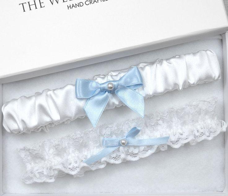 Blue Wedding Garter Set, Bridal Garter, White Garter, White Wedding ...