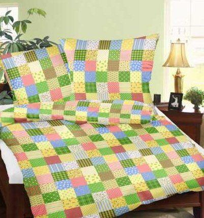 Genieße den Schlaf 4260216518287 Seersucker Bettwäsche, Bügerlfrei, 100% Baumwolle, 135 x 200 cm, patchwork muster grün