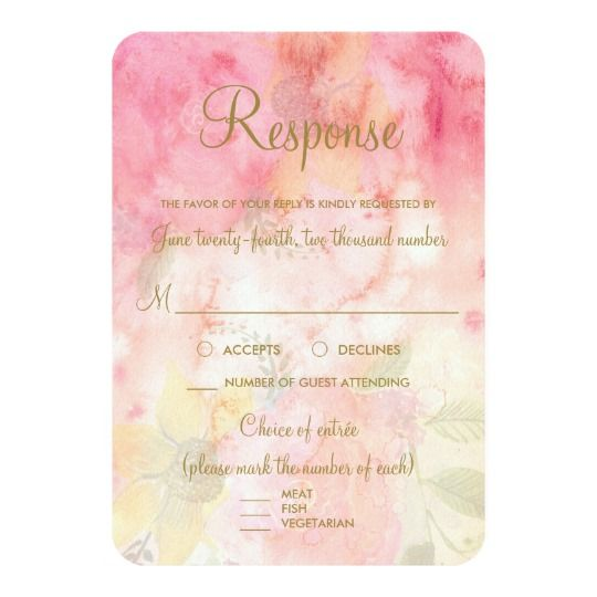 Watercolor Floral Pink Formal Wedding RSVP Reply Card
