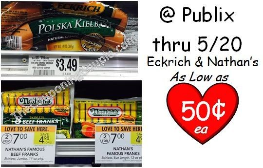 Here are a couple great scenarios for Nathan's hot dogs and Eckrich sausage combo! As low as 50¢ but either coupon makes a great deal! Click the link below to get all of the details ► http://www.thecouponingcouple.com/eckrich-and-nathans-publix-deals-two-possible-coupons/  #Coupons #Couponing #CouponCommunity
