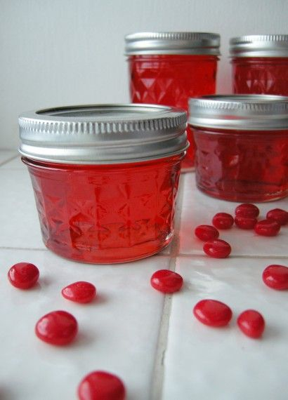 Candy Apple jelly. Sweet apple jelly with the fiery color and subtle heat of red hots!