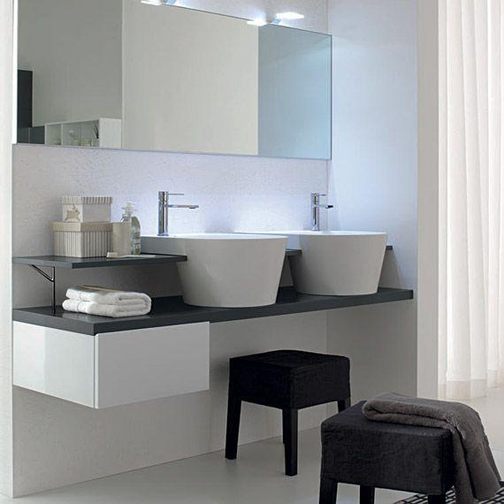 Comp C 09 cm 160 x 52 laccato grigio/bianco opaco lavabo in teknorit bianco