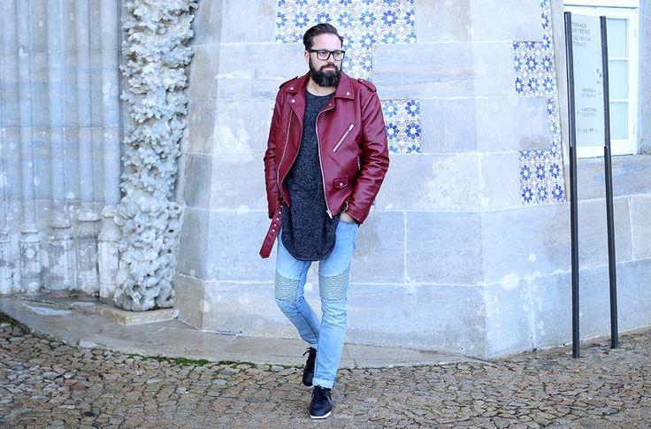 maennerblog, blog, tirol, innsbruck, streetstyle, menswear, menblog, influencer, rote Lederjacke, hellblaue bikerjeans, Nike Cortez, Hm, Pullover, Sintra, Portugal
