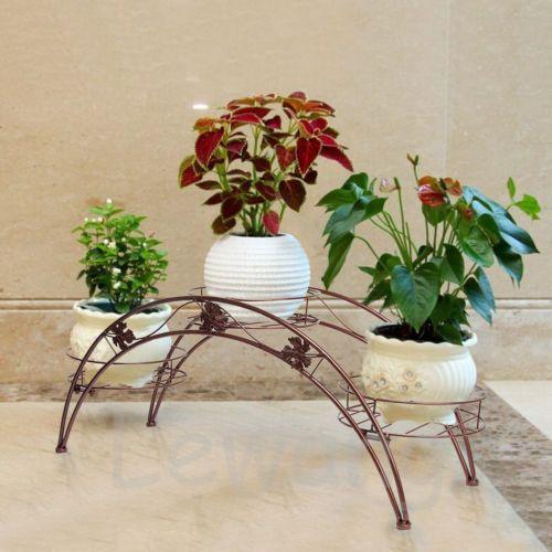 2016 NEW Arched Metal Plant Display Stand Flower Shelf Indoor Outdoor Organizer | eBay