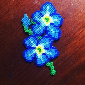 Forget-me-not magnet I made my boyfriends mother. #crafts #meltybeads #hamabeads #flowerslovers #flowers #perlerbeads #perler