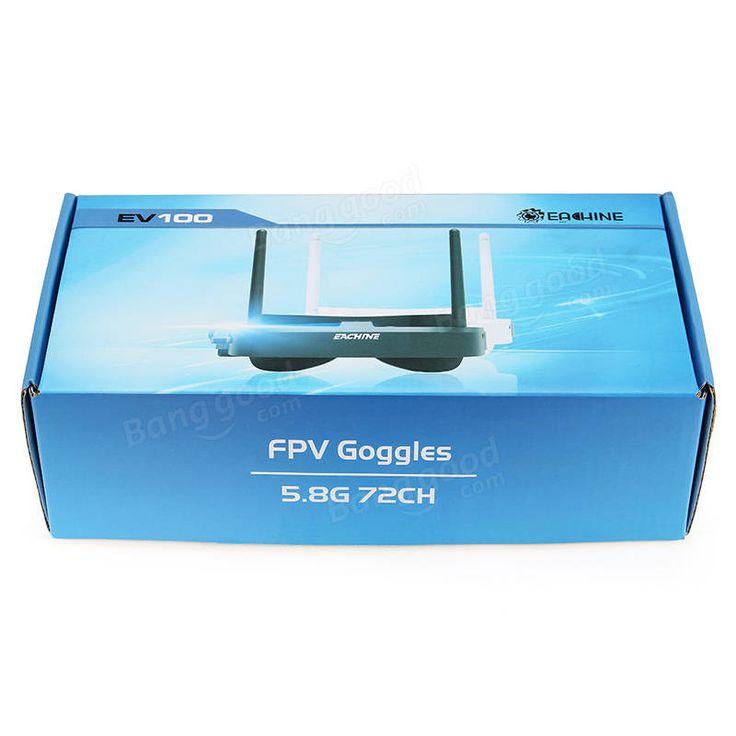 Eachine EV100 720*540 5.8G 72CH FPV Goggles With Dual Antennas Fan 7.4V 1000mAh Battery Sale - Banggood.com
