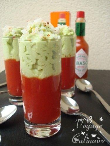 Gelée tomates, poivrons au Tabasco® et espuma d'avocat - Frozen tomatoes, peppers and Tabasco ® avocado espuma