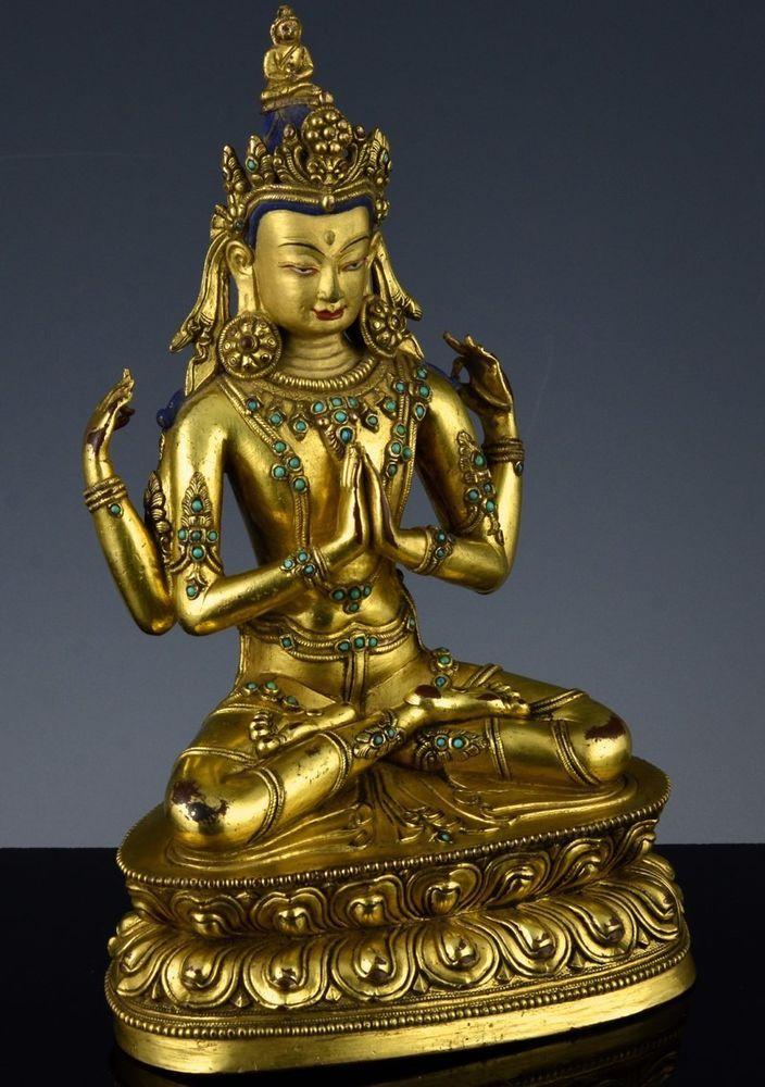 SUPERB 18/19C CHINESE TIBETAN GOLD GILT BRONZE TURQUOISE JEWELLED BUDDHA FIGURE