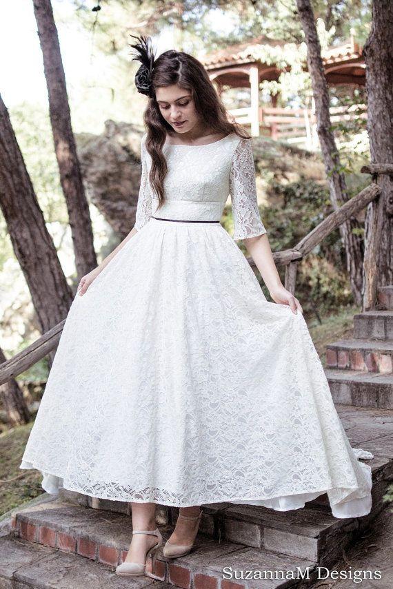 Cream  Ivory Lace Wedding Dress 50s Wedding Dress Full Skirt
