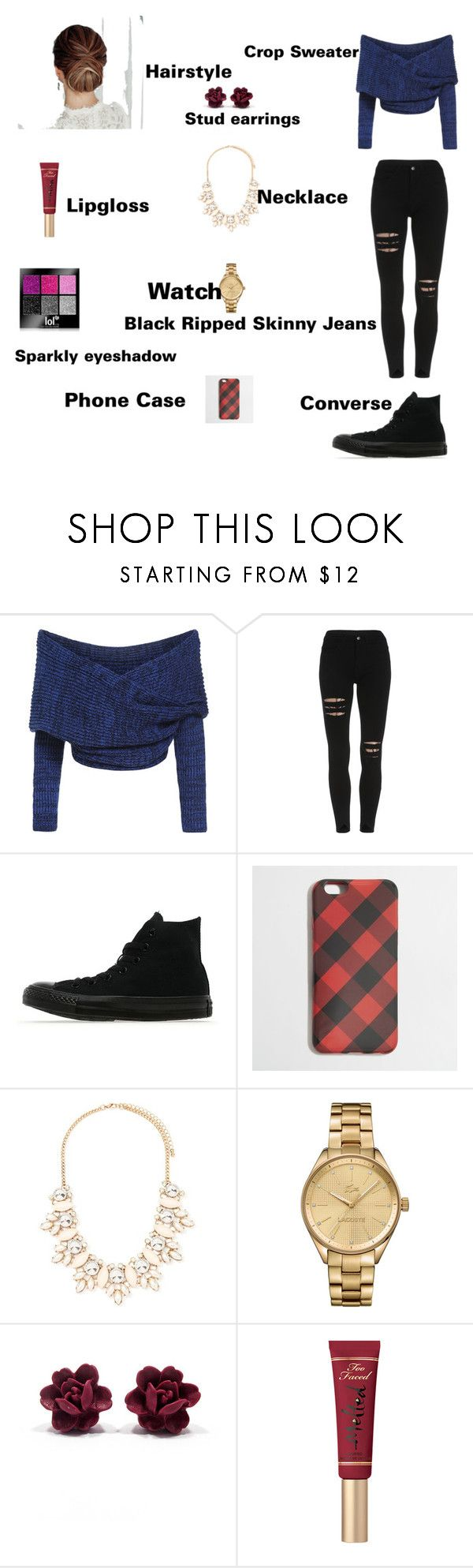 """""""Emma's outfit for day in Asuncion, Paraguay"""" by onedirectionforever1297 on Polyvore featuring Converse, J.Crew, Forever 21, Lacoste and Too Faced Cosmetics"""