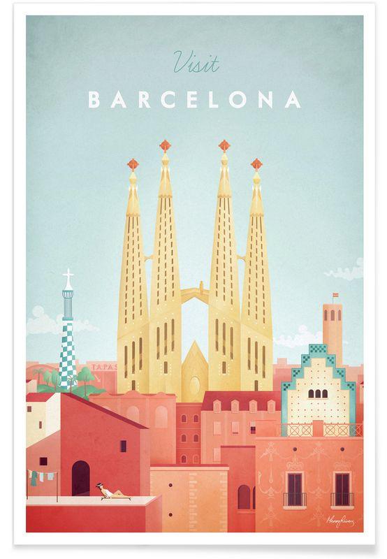 Barcelona en Affiche premium par Henry Rivers   JUNIQE