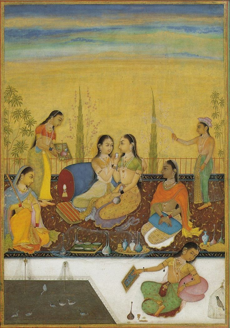 Ladies of the Zenana on a Roof Terrace. Attributed to Ruknuddin ...