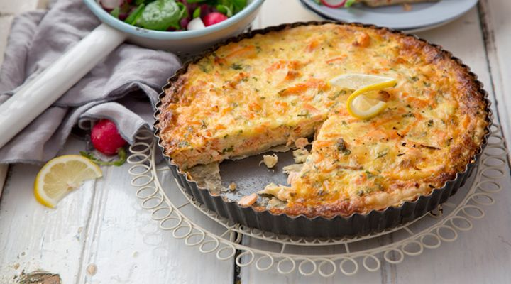 Salmon and Cheddar Cheese Quiche #AnnaGeary #GoodFoodKarma #SuperValu #Recipe