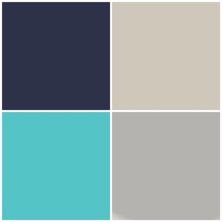 Home color palette thus far. Going clockwise:  Benjamin Moore Old Navy (front door & guest bathroom cabinets) Benjamin Moore Revere Pewter (Son's room)  Benjamin Moore San Antonio Gray **We went with Sherwin Williams' Light French Gray instead (Master bedroom)  Behr Gem Turquoise (Daughter's room).