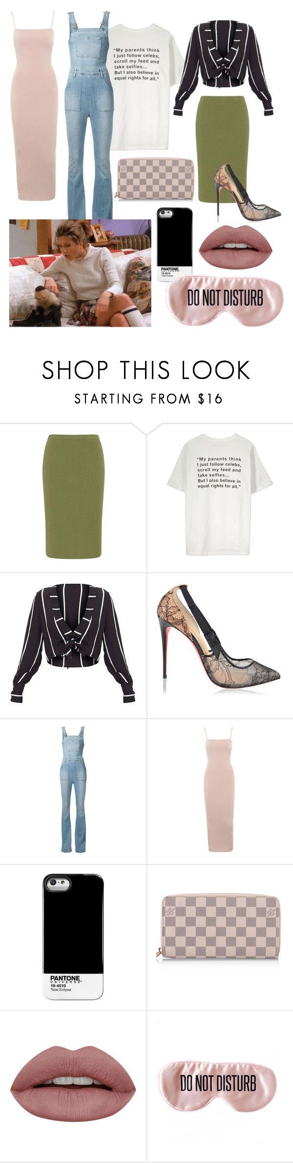 """Rachel Green - First set"" by julianamorgado1918 on Polyvore featuring Isolde Roth, Christian Louboutin, Frame, Pantone Universe, Louis Vuitton e BaubleBar"