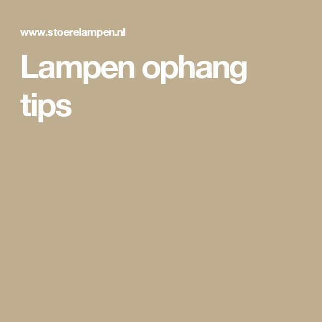 Lampen ophang tips