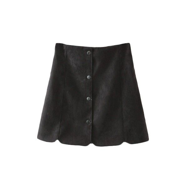 Plain Button Fly Petal Hem Suede A-Line Mini Skirt ($13) ❤ liked on Polyvore featuring skirts, mini skirts, bottoms, suede a line skirt, a line skirt, suede mini skirt, short skirts and suede skirt
