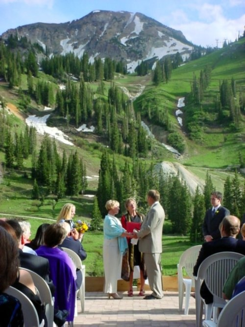 Mount Baldy As A Backdrop For Summer Wedding At Alta Mountain Weddings Lodge Pinterest Backdrops And Venues