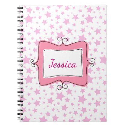 Pink Stars Doodle Frame Notebook - image gifts your image here cyo personalize