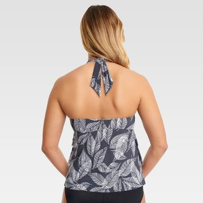 Dreamsuit by Miracle Brands Women's Slimming Control Palm Halter Tankini - Grey/White 10, Gray