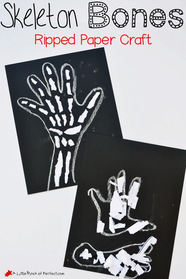 Skeleton Bones Ripped Paper Craft for Kids-perfect for a human anatomy lesson, X is for X ray craft, or spooky Halloween decoration.