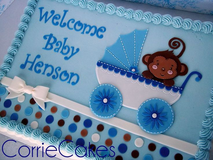 Baby Shower Sheet Cake. See!? Sheet cakes do not have to be boring and blah looking! This is a gorgeous example of a beautiful sheet cake!