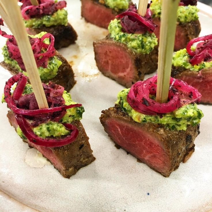 One more to add to the new canapé menu... Seared lamb with pistachio salas and…