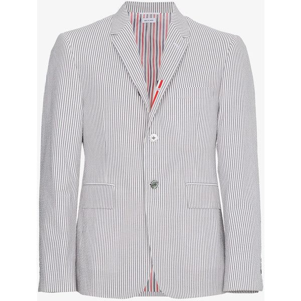 Thom Browne Single Breasted Seersucker Jacket ($1,640) ❤ liked on Polyvore featuring men's fashion, men's clothing, men's outerwear, men's jackets, grey, mens gray leather jacket, mens single breasted jacket, mens seersucker jacket and mens grey jacket