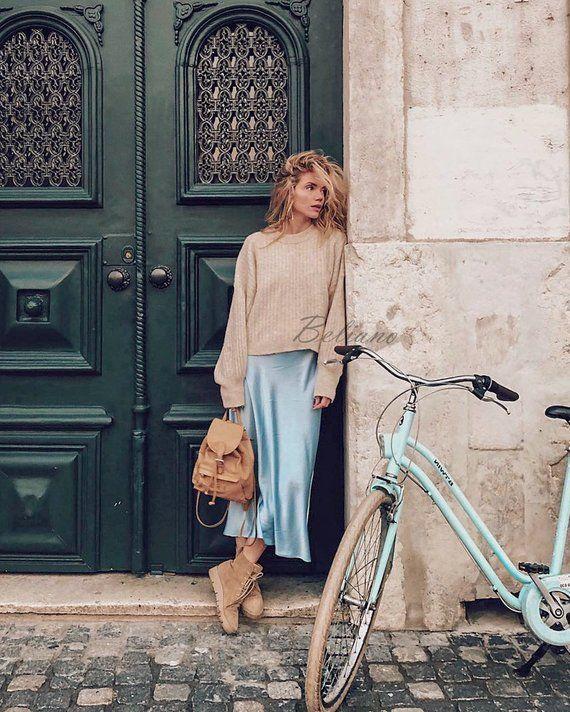 Blue Silk slip 90s skirt women silk clothing Silk midi long slip skirt midi long fall trends light b