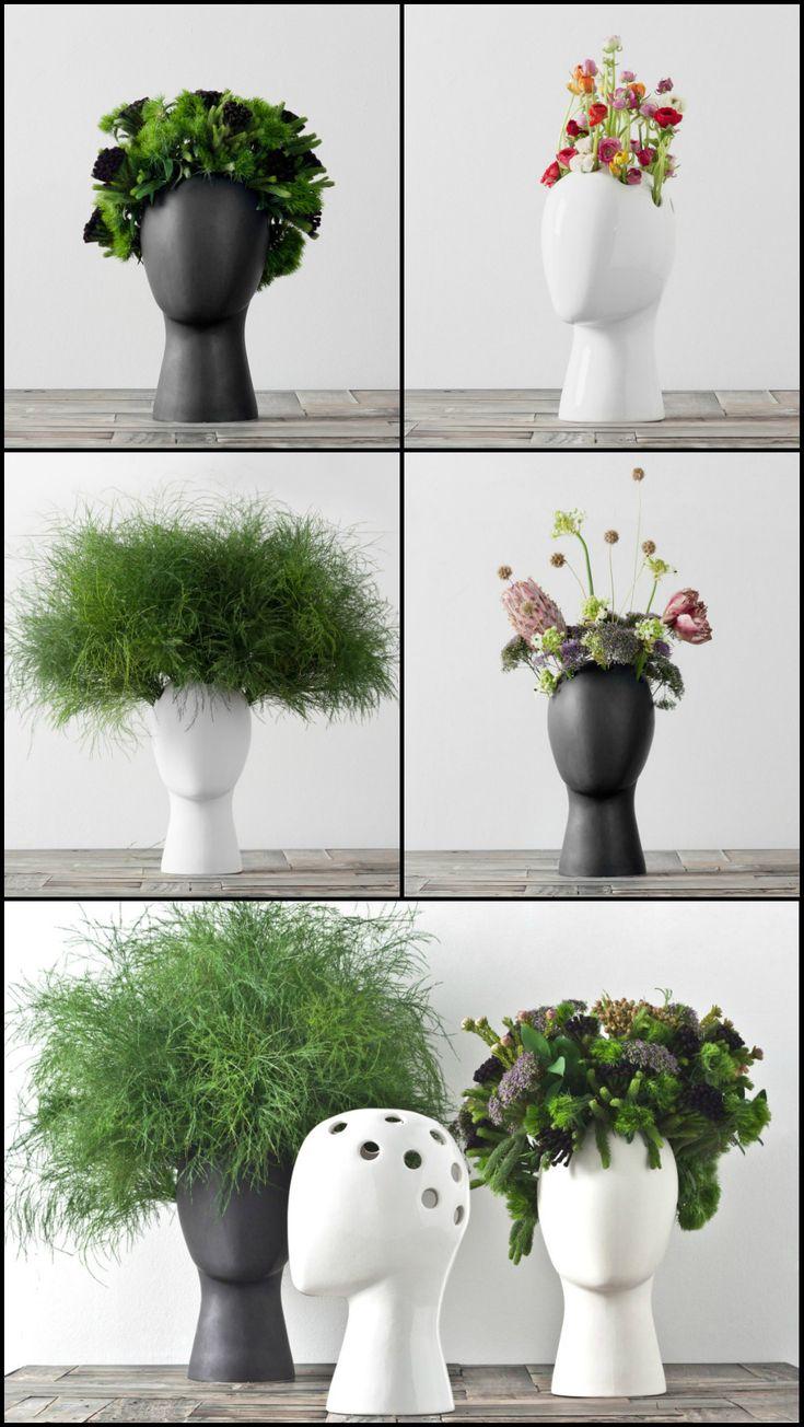 An ironic and playful feminine head-shaped ceramic vase inspired by Amedeo Modigliani portraits.  #vase #unconventional #ceramic