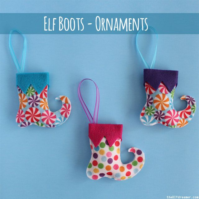 Elf Boots - Ornaments. For those in the UK ... Hobbycraft sell printed felt like this around Christmas time, but look at other times as them may stock it througout the year!