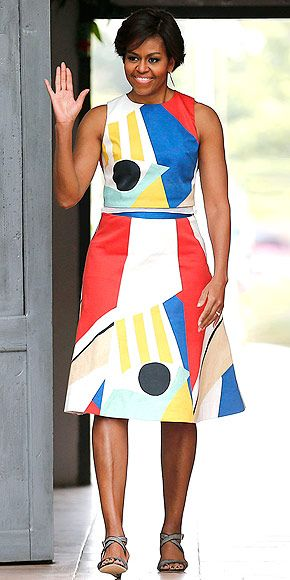 Michelle Obama's Prints-Packed Tour of Asia: See Every Look! | YOU'VE GOTTA HAVE ART | While visiting a local high school in Siem Reap, Cambodia, the First Lady of the United States goes mod in a geometric-print Alice + Olivia by Stacey Bendet two-piece design.