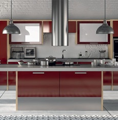 Burgundy High Gloss Kitchen - gorgeous!
