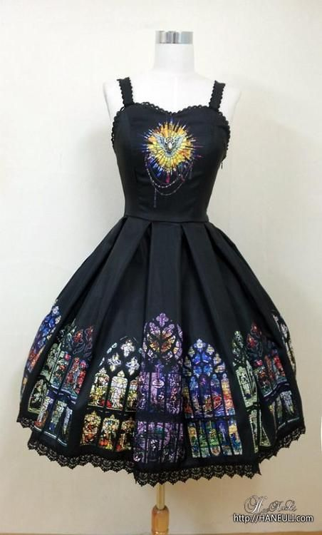 lolita incredible gothic stained glass cathedral window print jsk dress.