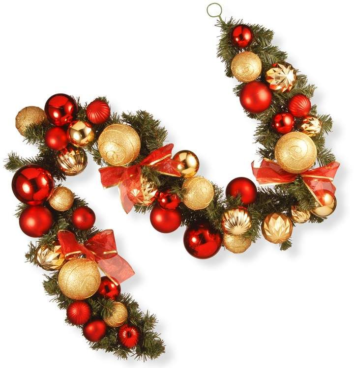 6ft Red /& Gold Decorated Garland Christmas Decoration