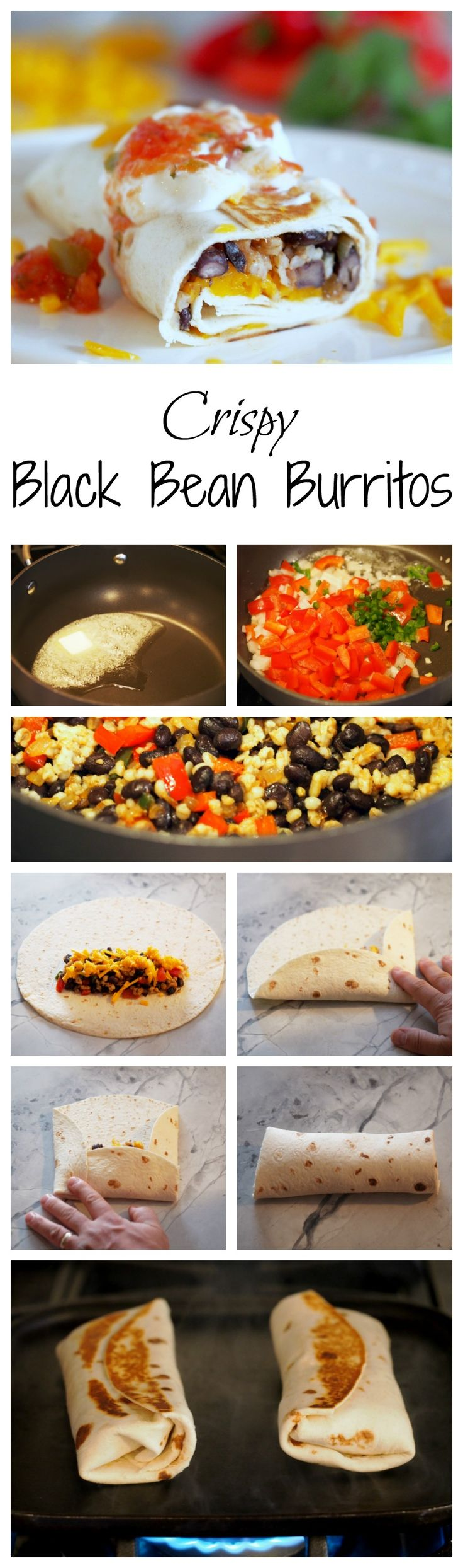 Crispy-Black-Bean-Burritos combine black beans with sautéed vegetables, brown rice, and cheddar cheese for a healthy, balanced vegetarian meal with complete proteins, all wrapped in a toasted tortilla. Veganize by leaving out the butter, using vegan cheese and choosing vegan garnishes/accompaniments.