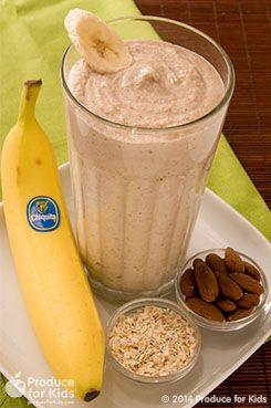 Quick Oatmeal Banana Smoothie: 2bananas, ripened 1/3 cuplowfat Greek honey yogurt 1/2 cupcooked oatmeal 1/3 cupalmonds 2 cupice