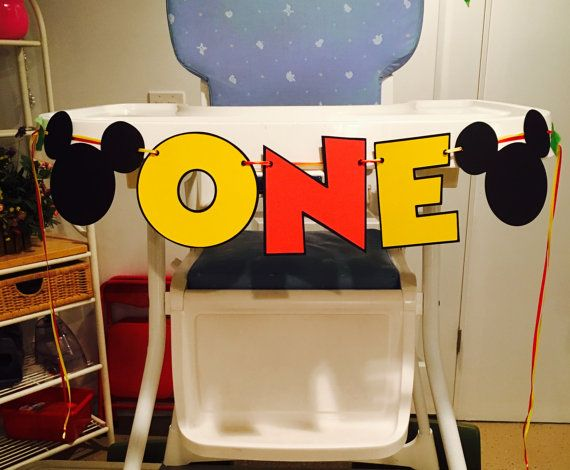 Mickey Mouse ONE High Chair Banner High by CutestBowsOnTheBlock