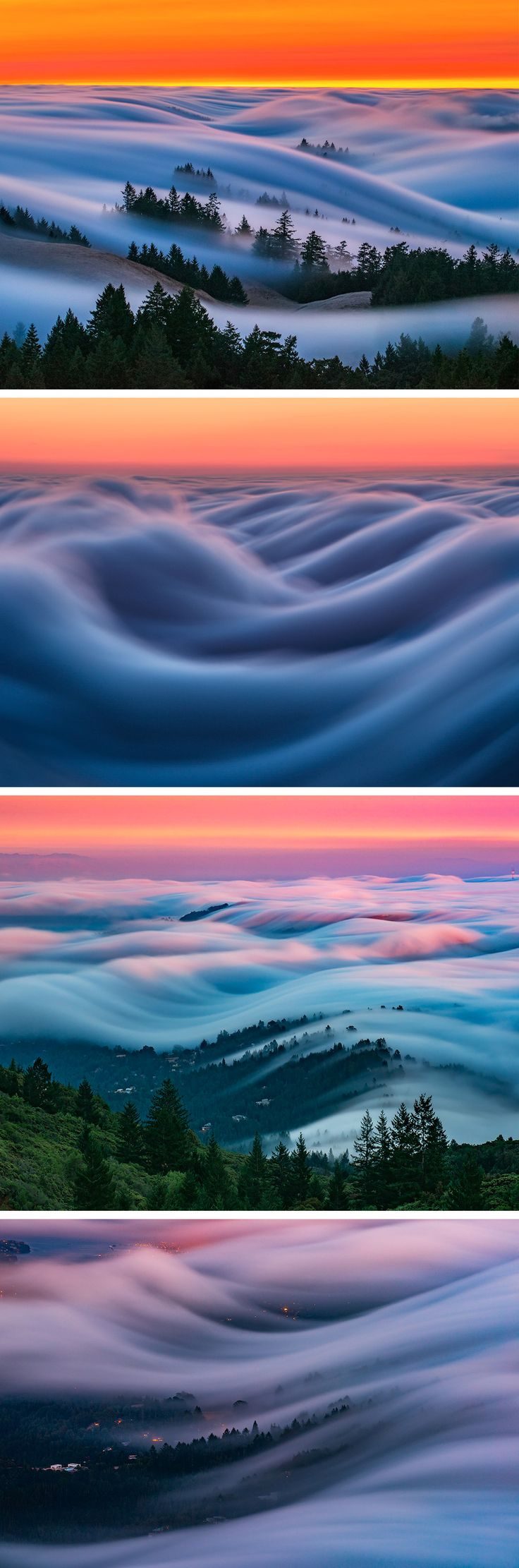 Rolling Images of San Francisco's Fog Against Neon Skies Shot by Nick Steinberg