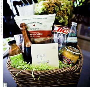 """This bride's maids left a """"recovery basket"""" with champagne and snacks in their wedding-night hotel room...so thoughtful!"""