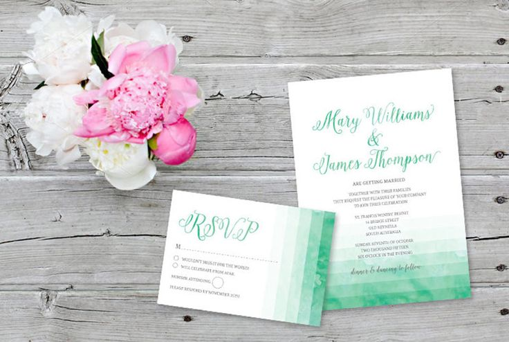 Paper Bound Love @ Etsy, Invitations in Green Watercolour Wash (from $42.56)